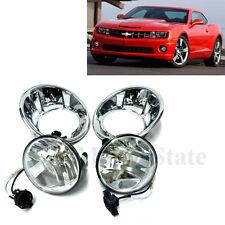 For 10-13 Camaro Driving Clear Fog Lights Bumper Lamps Kit Chrome Housing Bulbs