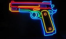 "Pawn Shop Pistol Gun Ammo Open Neon Light Lamp Sign 32""x24"" Glass Windows Decor"