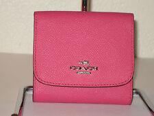 COACH 53716 Small Wallet in Dahlia Pink Crossgrain Leather $99