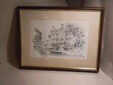 NANTUCKET MASS JAS F MURRAY JARED COFFIN HOUSE PENCIL ETCHING FRAMED 11 3/4 X 8
