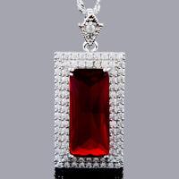 Damen Zirkonia 18K Weissgold Vergoldet Smaragd Rot Rubin Anhaenger Halskette