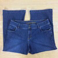 Lands' End Wide Leg Stretch Denim Blue Jean Women's Plus Size 20 W