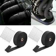 "2 Roll 2""x 50ft Thermal Header Pipe Tape Exhaust Wrap & 20 Ties Kit Fiberglass"