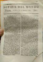 1779 NOTIZIE DEL MONDO: GENERALE WASHINGTON; GUERRA STATI UNITI TURCO - ALBANESE