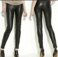 Women's XS Leith Vegan Leather Skinny High Rise Leggings Pants Black