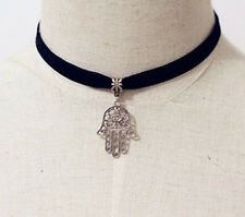 Hamsa Hand Symbol Charm Pendant Black velvet rope Retro Hippy Tibetan Silver