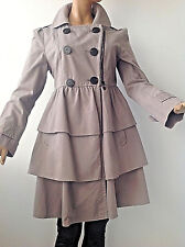 NEW AWESOME CHIC  GRAY ZIP&BUTTONS CLOSURE LAYERED LINED BELTED TRENCH S