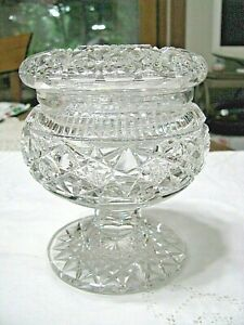 Elegant Cut Glass Dresser Jar on Pedestal-Probably English-Deep Cut-many facets