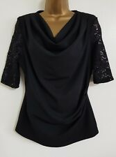 NEW Roman Originals 10-18 RRP £25 Black Lace Sequin Cowl Neck Top Blouse Evening