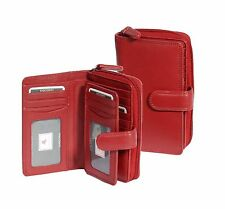 Womens Soft RED Leather Purse Clutch Zip Around Cards ID Coins Banknotes Boxed