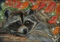 ACEO Raccoon Animals Nature Wildlife Autumn Leaves Artwork Pastel Painting Art