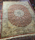 Vintage Hand Knotted Woven Medallion Red Blue Silk 8x10 Feet Oriental Area Rug