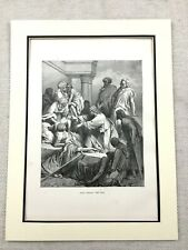 1870 Jesus Christ Picture Antique Victorian Engraving Print Healing The Sick