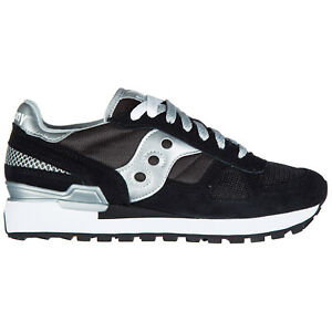 Saucony sneakers women S1108 671 Black / Silver logo detail suede shoes
