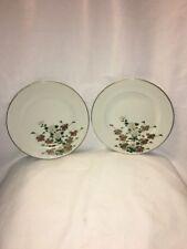 2 Vintage Antique Kutani Floral Dishes Asian White Porcelainware Porcelain Plate