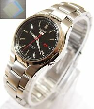 Gift + SNK607 Stainless Steel Band Automatic Men's Black Watch SNK607K1 SEIKO 5