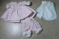 Darling! 3 Piece Red Polk Dot Dress Pantaloons and Bib for Small Artist Dolls