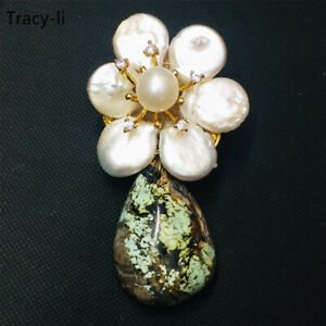 Women Lady 14k yellow gold natural turquoise with freshwater pearl brooch pin