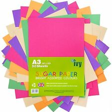 A3 Sugar Paper - 50 x Bright Coloured Sheets - 21003 - Made in the UK by Ivy