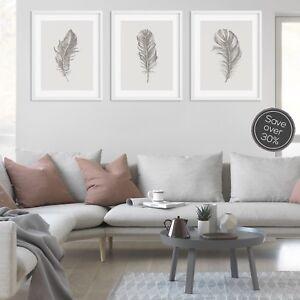 Feather Print Set, Set of Prints, Grey Wall Art Print, Grey Prints, Wall Art