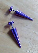 Purple Stainless Steel Step 1 Starter Gauges. Spikes.