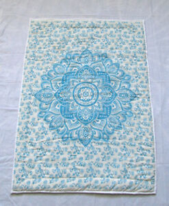 New Reversible Baby Quilt Indian Hand Block Ombre Flower Printed Nursery Blanket