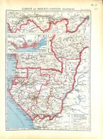 Empire Colonial Français Gabon Moyen-Congo Brazzaville Afrique CARTE ATLAS 1937