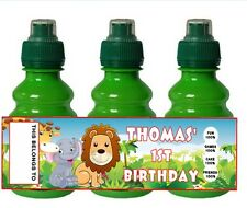 PERSONALISED Jungle Theme FRUIT SHOOT BOTTLE LABEL Party Bag Fillers