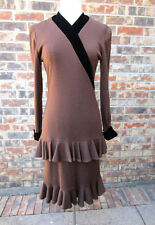 BEAUTIFUL VINTAGE MISS O BY OSCAR DE LA RENTA RUFFLE LONG SLEEVE BROWN DRESS