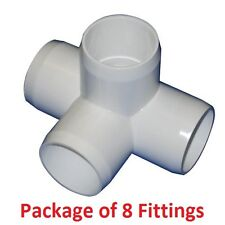 "3/4"" Furniture Grade 4-Way Side Outlet Tee PVC Fitting - 8 Pack"