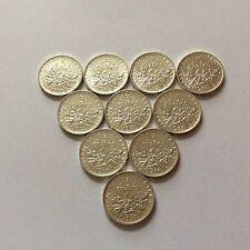 Série complète de 10 pièces en argent de 5 F de 1960 à 1969 SUP/SPL