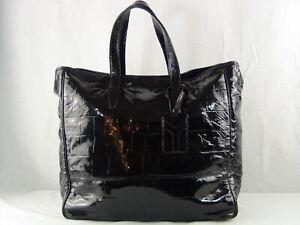 US seller Authentic YVES SAINT LAURENT YSL CROC EMBOSSED PATENT LARGE HAND BAG