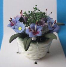 Bunte Frühlingsblumen blau Puppenhaus Dekoration Zimmerpflanze Miniatur 1:12