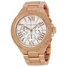 NWT MICHAEL KORS MK5636 Rose Gold Tone Camille Crystal Glitz 43mm Watch $295