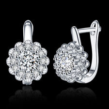 Classic 18k 18ct White Gold Filled GF Cluster CZ  Earrings E-A745 Gift Woman