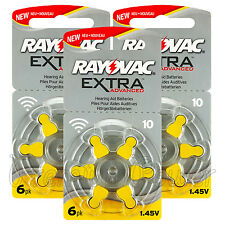 Rayovac Extra Hearing Aid 10 Size batteries * Zinc air * 0% Mercury 6 - 60 cells