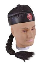 Chinese Oriental Black Hat With Plaited Ponytail Panto Fancy Dress NEW P801