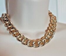 """Gold Tone Chain Choker Necklace 16"""" Thick Pre Owned  +3"""" Ext Fashion Accessory"""