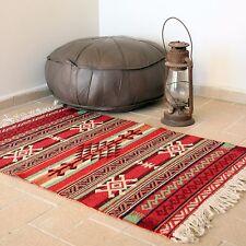 Pequeña doble cara Boho Marroquí Kilim Alfombra turca de estilo vintage 60 X 90