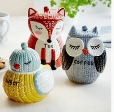 Knit Knitted Effect Tea Canister Fox