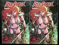 🚨🗡🔥 RED SONJA #21 WILL CONRAD SET OF 2 Variants / Cover E FOC & 1:15 Ratio NM