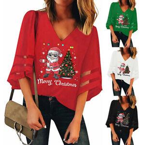 Fashion Womens V-Neck Mesh Tops Trumpet Sleeves Loose Christmas Shirt Blouse