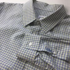 Lacoste Dress Shirt Men 16.5 16 1/2 FR 42 Slim Fit Yellow Blue Plaid Cotton Logo