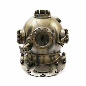 "US Navy Mark V Diving Helmet Deep Sea Scuba Antique Boston Diving Helmet 18"""