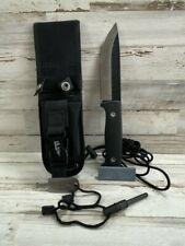 Elk Ridge Bushcraft Knife, Full Tang, Survival, Fire Starter, Sheath, Black
