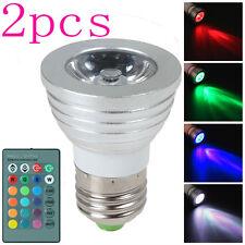 2PCS 3W E27 LED RGB Magic Light Bulb 16 Color Changing Lamps Wireless Remote