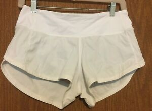 lululemon white nylon blend stretch running shorts 2 Reg
