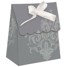 WEDDING AND BRIDAL Silver Damask FAVOR BOXES (12) ~ Party Supplies Paper Treat