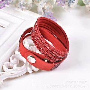 ELEGANT RED FAUX LEATHER Slake BRACELET Made With RED SWAROVSKI CRYSTALS GIFT