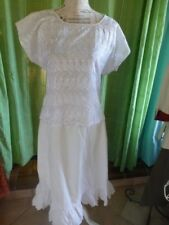 lot blanc vintageT44/46   femme  ,jupon festons main +corsage broderie anglaise